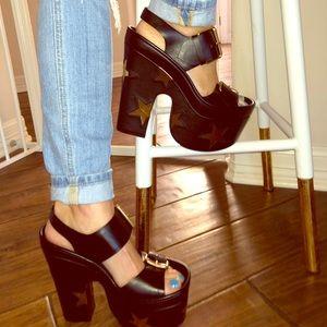 Stella McCartney Black & Gold Star Sandals 37 NIB
